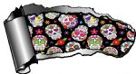 Ripped Open Gash Torn Metal Design With Mexican Sugar Skull Pattern Motif Vinyl Car Sticker 140x75mm
